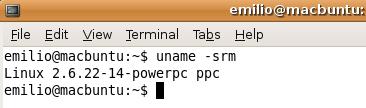 Linux 2.6.22-14-powerpc ppc según el comando uname -srm