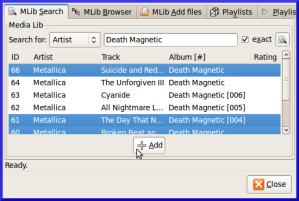 Selección de canciones a añadir a la lista de reproducción.
