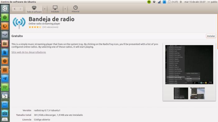 bajando radio tray en ubuntu