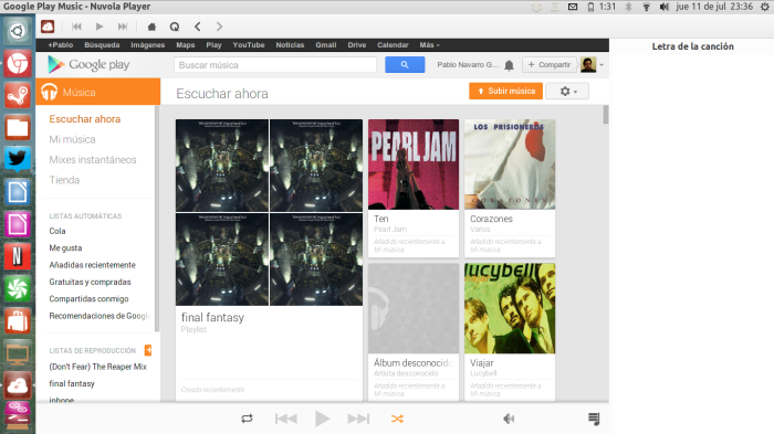 google play music en nuvola