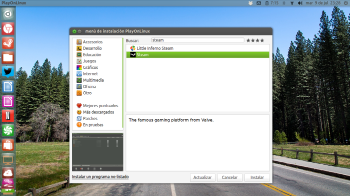 instalando steam en playonlinux