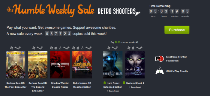 Versión weekly Humble Bundle