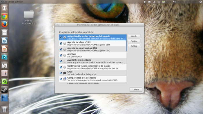 Aplicacines al inicio ubuntu 13.10