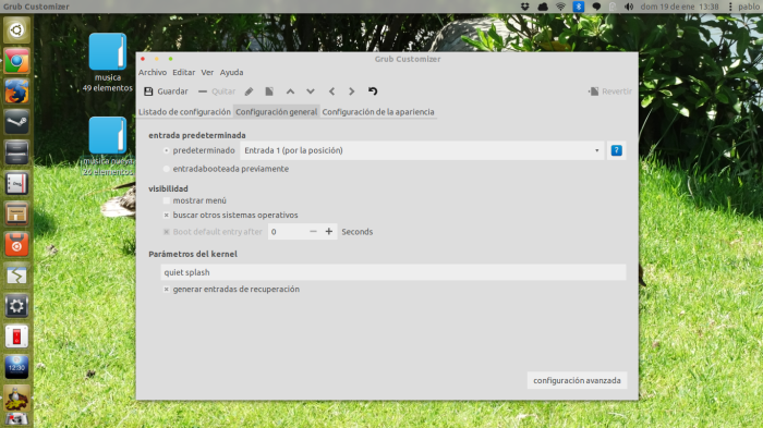 grub customizer opciones