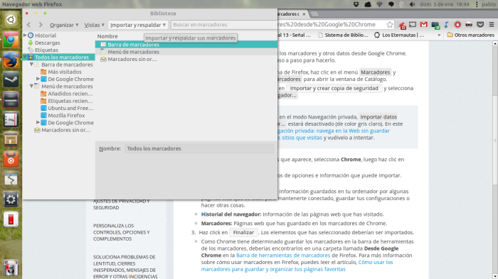 Mostrando Marcadores en Firefox