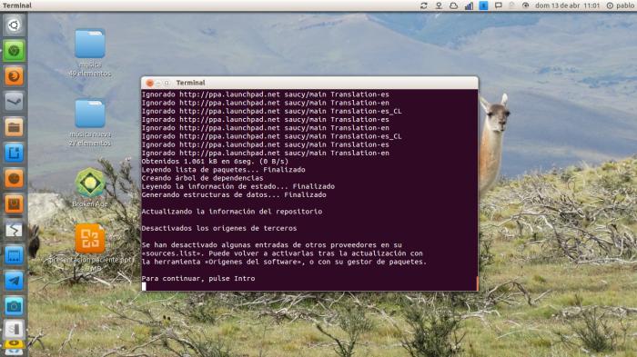 actualizando ubuntu a través de la terminal