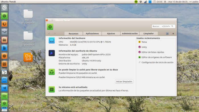 ubuntu tweak en accion