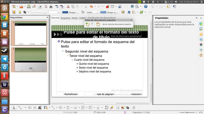 Patrón de diapositivas en Libreoffice
