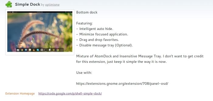 página de extensiones gnome-shell