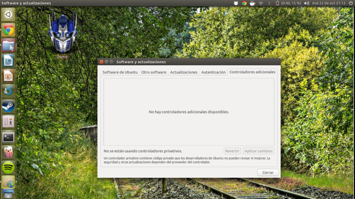 controladores adicionales ubuntu